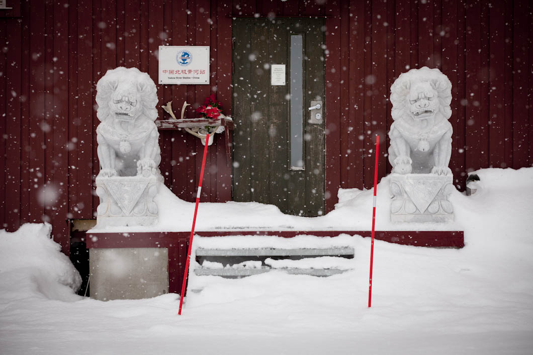 Two ornamental snow lions stand guard outside the Polar Research Institute of China at Ny-Ålesund, called the Yellow River Station. China has become very keen to develop its interests in the Arctic region building the station in 2004. China is also building its second icebreaker, already owning one of the largest non-nuclear powered icebreakers in the world.