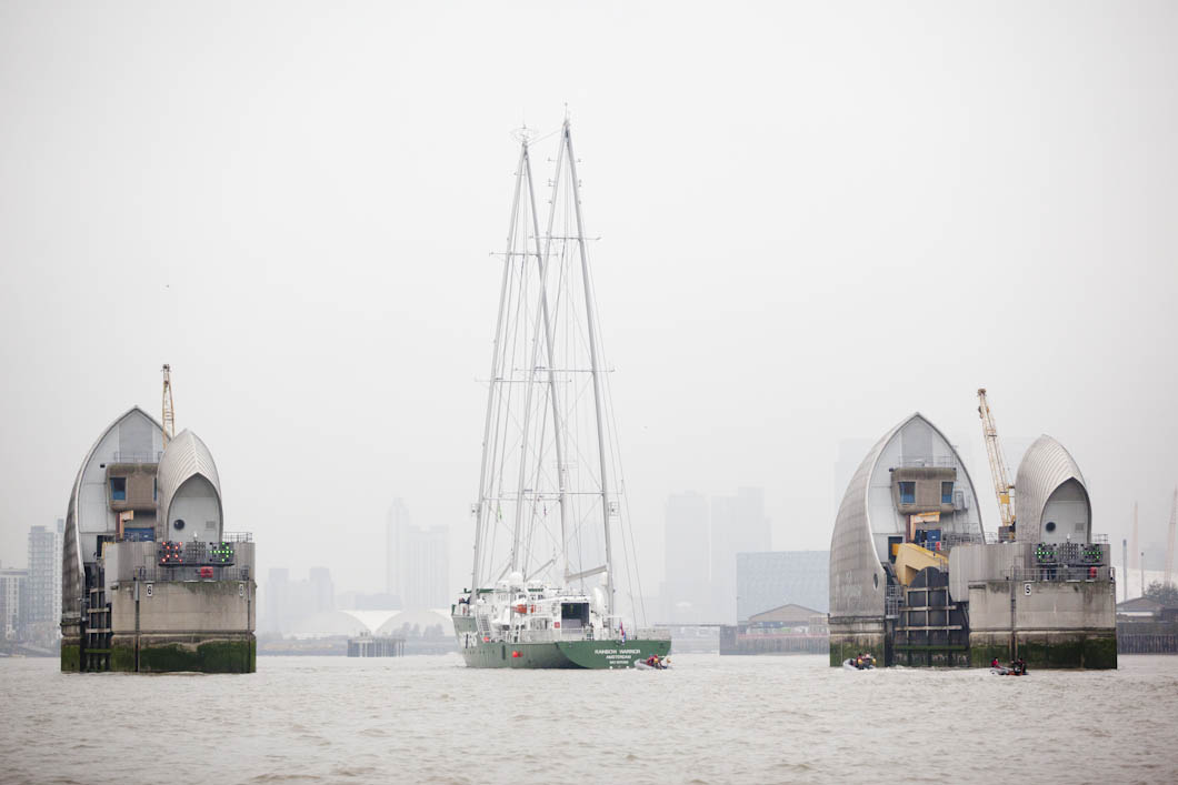 The brand new Rainbow Warrior III, which was built in 2011, arrived in London as part of her maiden voyage around Europe. I photographed her going through the Thames Barrier on a misty day on the river.