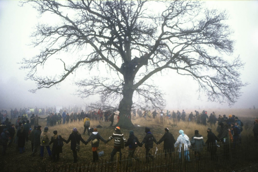 Visitors to the protest camp are encouraged to circle a tree to protect it from baliffs.