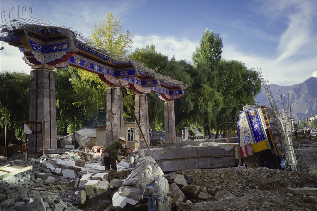 Buildings of cultural significance demolished by Chinese workers in downtown Lhasa, Tibet. China has initiated the destruction of many buildings in Lhasa and other areas of Tibet.