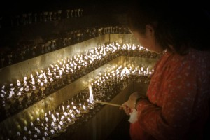 Lighting butter lamps which have been rehoused in a sunken chamb
