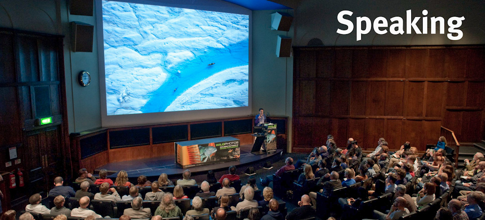Nick Cobbing speaking at Wildphoto at the Royal Geographic Society