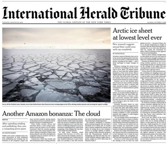Herald Tribune front page